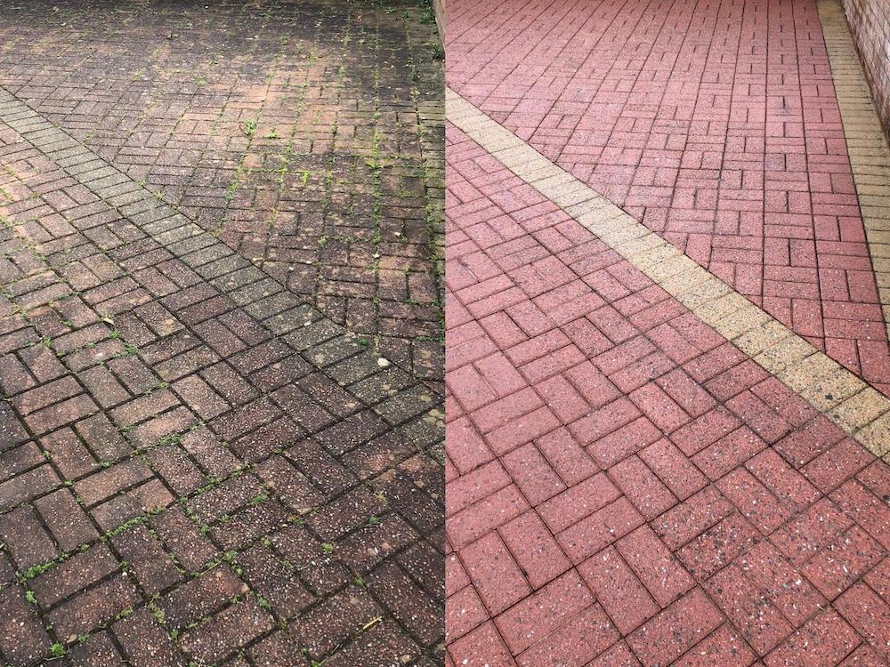 Brick driveway before and after pressure washing