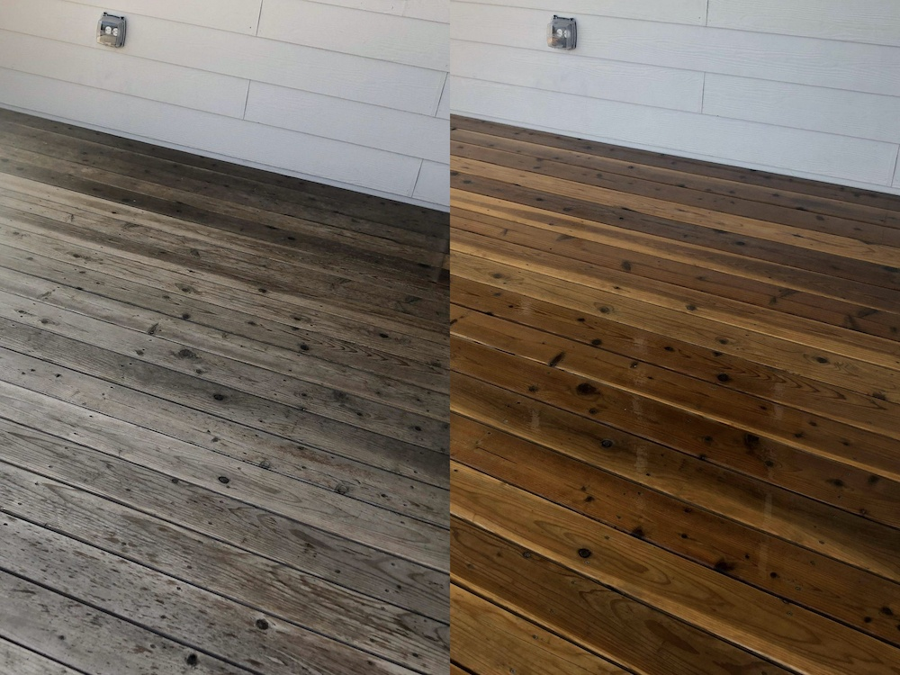 Wood deck before and after pressure washing