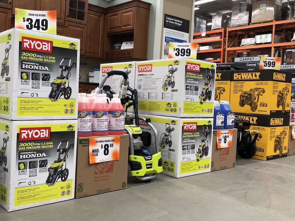 Selection of pressure washers at Home Depot