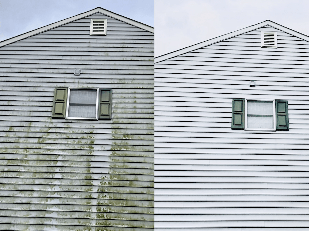 House siding before and after pressure washing